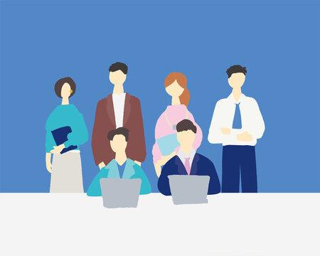 IT系企業の仕事場で働いている人物の全体集合イラスト Workers, business, jobs, vector