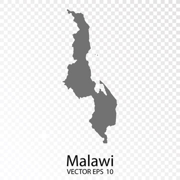 Transparent - High Detailed Grey Map of Malawi. Vector eps10.