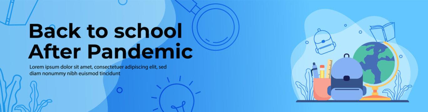 Education Web Banner Design. Back to school after pandemic concept. header or footer banner.