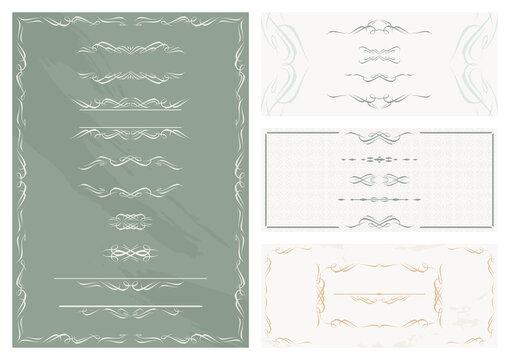 エレガント レトロ フレーム 飾り枠 飾り罫 背景 素材 セット