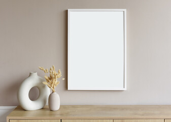 Blank picture frame mockup on gray wall. White living room design. View of modern scandinavian...