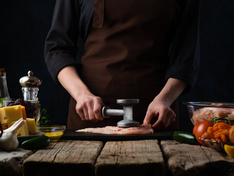 Chef Hammering Chicken Fillet Background Food Cooking Meat Chops Or Meatloaf Chicken Recipes Cooking Recipes And Cooking Recipe Book Concept Selling Meat In Stores