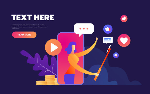 Smartphone and Mobile Business Product Reviews ,Blogger Review Concept.Video Streamer, Live Broadcast. Online Channel. Vector illustration character.