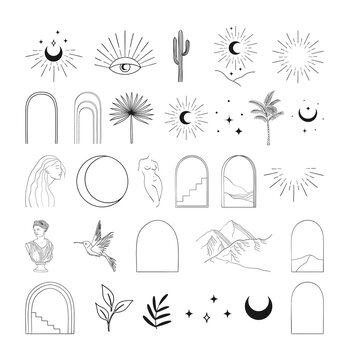 Modern vector abstract line art designs elements
