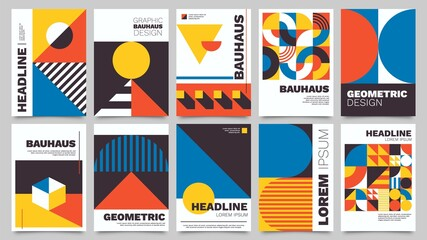 Obraz Bauhaus forms. Square tiles with modern geometric patterns with abstract figures and shapes. Contemporary graphic bauhaus design vector set. Circle, triangle and square lines art - fototapety do salonu