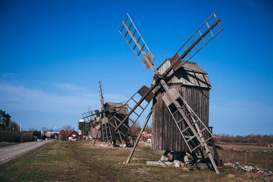 Windmills at Lerkaka on the Swedish island of Öland