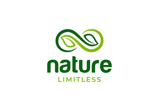 Leaf with infinity symbol, nature limitless logo design inspiration template