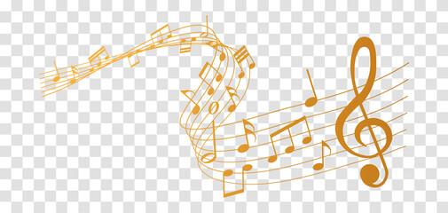 Fototapeta vector sheet music - gold musical notes melody on transparent background obraz