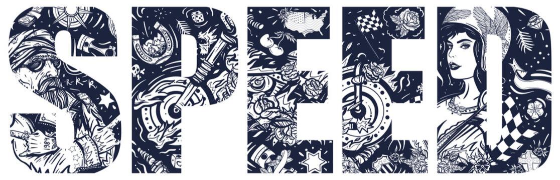 Speed slogan. Double exposure lettering. Bikers lifestyle. Typography art. Tattoo style. Vector graphics. Bearded biker man, burning motorcycle, rider sport woman. Pin up girl, spark plug, moto bike