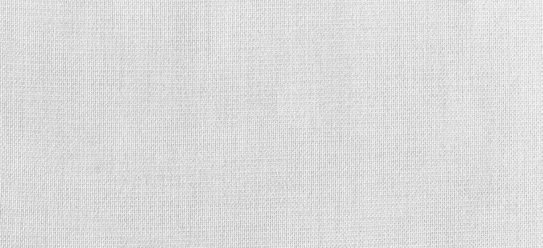 Panorama of White linen cotton fabric texture and background seamless