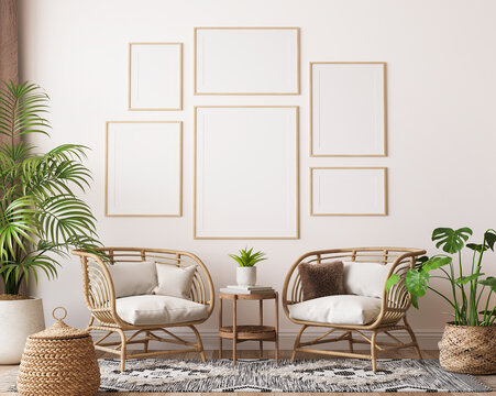 farmhouse interior living room, gallery wall frame mockup in white room with wooden furniture and lots of  green plants, 3d render