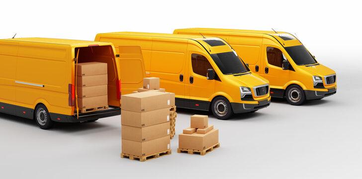 Parcel delivery in van transportation trucks on white.