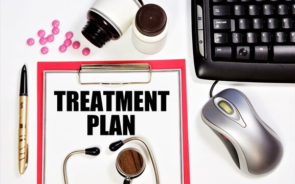 Treatment plan. A text label in the planning folder. Description of medical services, compiled by a doctor, based on consultations and diagnostic studies.