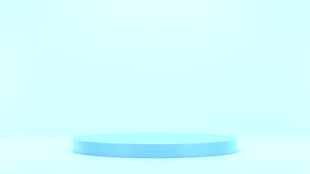 Minimal podium realistic mockup display cosmetic product presentation round empty cylinder stage in light soft blue background 3D render illustration