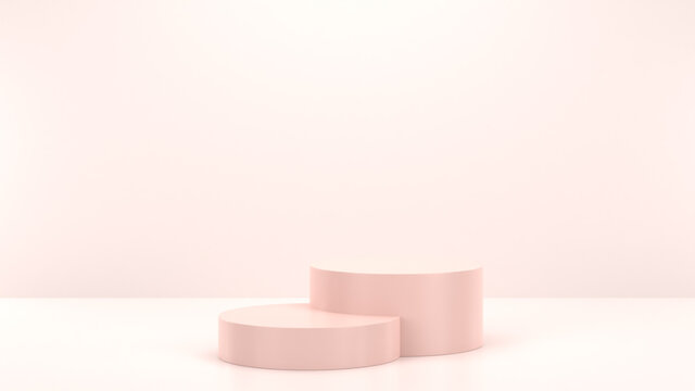Minimal podium realistic mockup display cosmetic product presentation round empty cylinder stage in nude soft pink background 3D render illustration