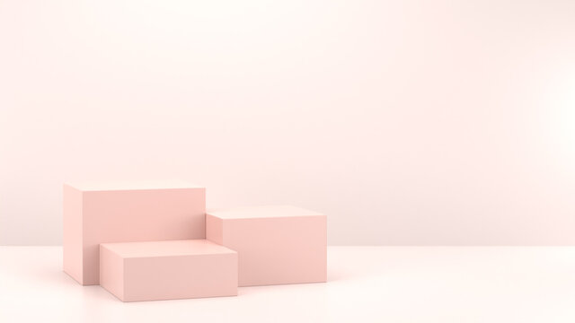 Minimal podium realistic mockup display cosmetic product presentation cube empty stage in nude soft pink background 3D render illustration