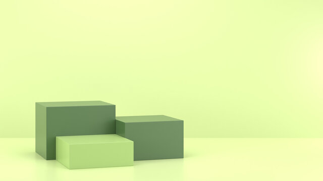 Minimal podium realistic mockup display cosmetic product presentation cube empty stage in soft green background 3D render illustration