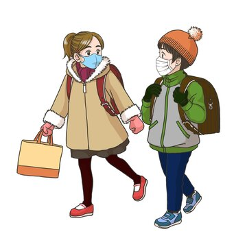 2 girls wearing masks on the way to their elementary school (Winter)
