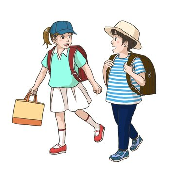 2 girls on the way to their elementary school (Summer)