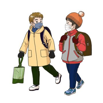 2 boys wearing masks on the way to their elementary school (Winter)