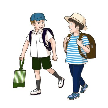 2 boys on the way to their elementary school (Summer)