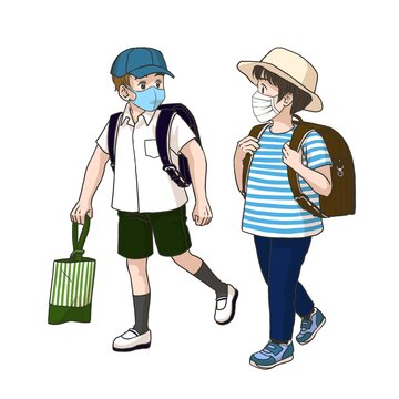2 boys wearing masks on the way to their elementary school (Summer)