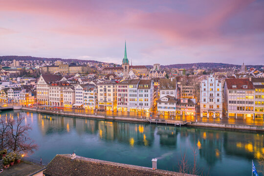 Cityscape of downtown Zurich in Switzerland