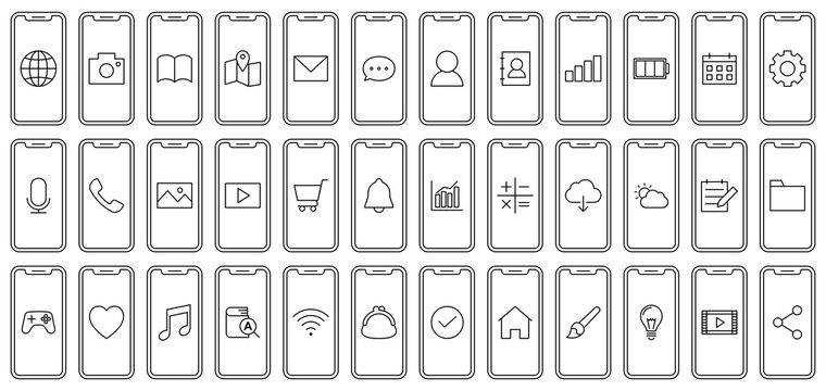 Mobile phone and app icons スマホとアプリのアイコン