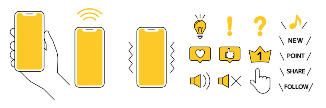 Mobile phones and icons スマホと色々なアイコン