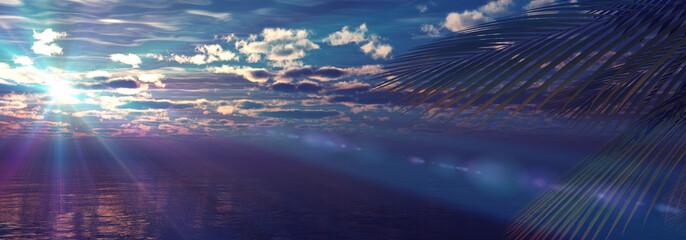 Fototapeta sunset sea palm landscape illustration