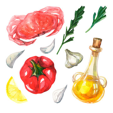 Watercolor set with Mediterranean cuisine on a white background. Crab, rosemary, garlic, red bell pepper, olive oil and lemon wedge. Isolated vegetables. Healthy food. Handmade watercolor.