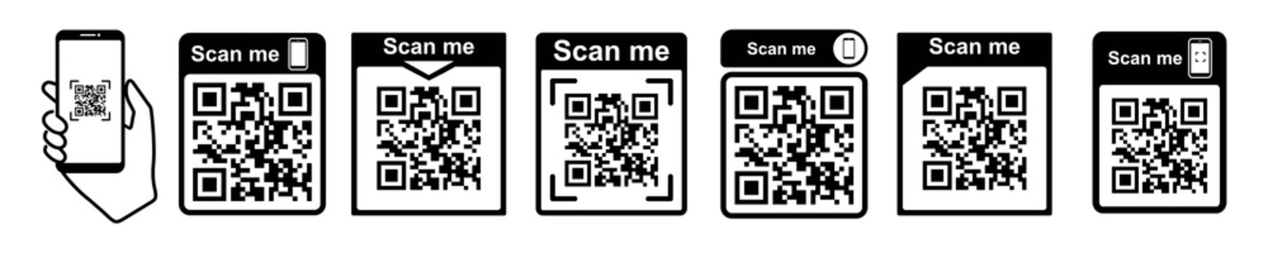QR code scan icon with smartphone, scan me Qr code for payment, Vector illustration.