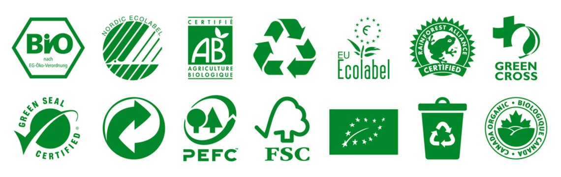 Kiev, Ukraine - April 11, 2021: Set eco logos certified company. BIO, Nordic Ecolabel, Certifie Agriculture Biologique, Rainforest Alliance, Green Cross, PEFC, FSC, Canada Organic. Editorial vector