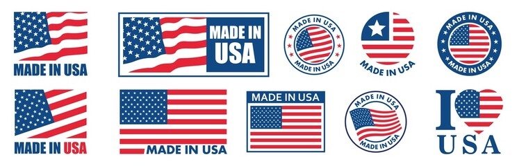 made in the usa labels set,  made in the usa logo, usa flag , american product emblem, Vector illustration.