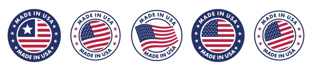 Fototapeta made in the usa labels set,  made in the usa logo, usa flag , american product emblem, Vector illustration. obraz