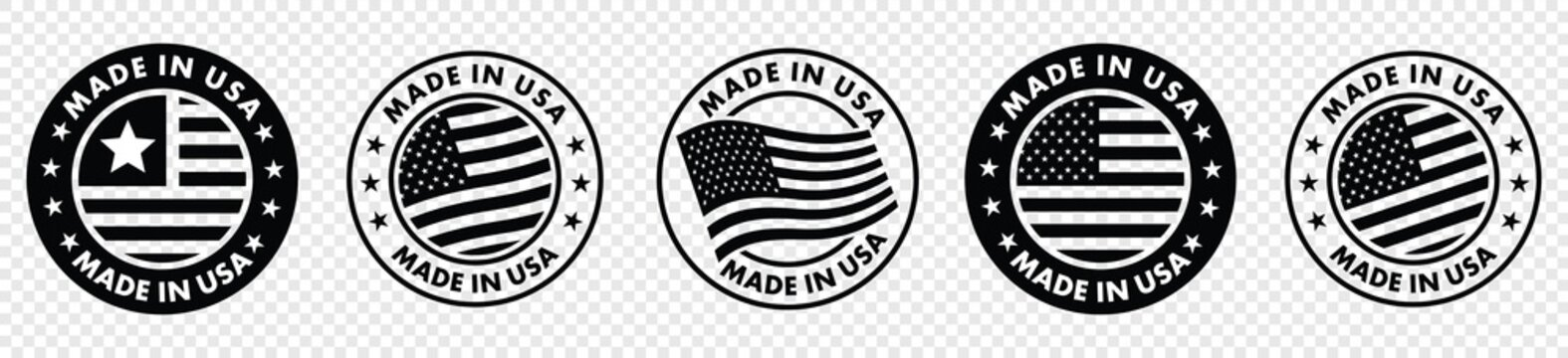 set of made in the usa labels,  made in the usa logo, usa flag , american product emblem, Vector illustration.