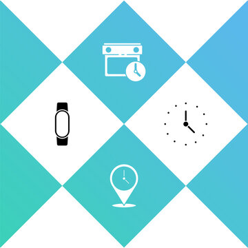 Set Smartwatch, Location with clock, Calendar and and Clock icon. Vector