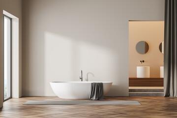 Printed kitchen splashbacks Asia Country Beige wooden bathroom interior bathtub near window and sink