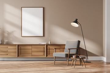 Wooden living room interior with armchair, drawer and lamp, poster