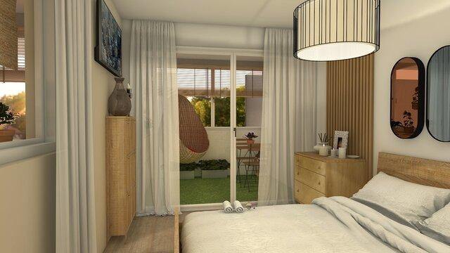 dormitorio con cama doble y terraza
