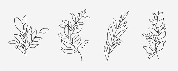 Obraz Set of flower icons on white background, isolated. Collection of floral signs for luxury minimalistic boho design. No fill and thin outlines plant symbols, garden and greenery with stem. Flower vector - fototapety do salonu