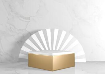 Fototapeta Square rectangle Pedestal white for cosmetic product on background granite white. 3d rendering