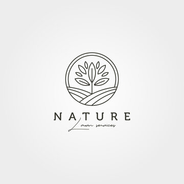 garden tree landscape logo vector symbol illustration design, line art nature logo design