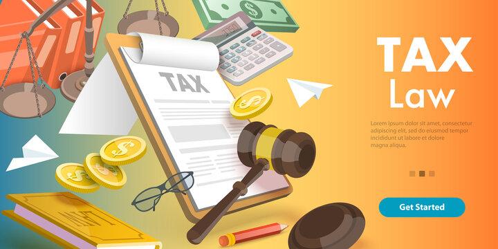 3D Vector Conceptual Illustration of Tax Law, Taxation Legislation
