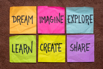 Obraz dream, imagine, explore, learn, create, and share -  set of sticky notes with inspirational words, business, education, lifestyle and personal development concept - fototapety do salonu
