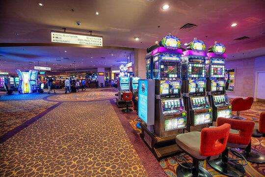 LAS VEGAS, NV - JUNE 30, 2018: Interior view of City Casino with slot machines