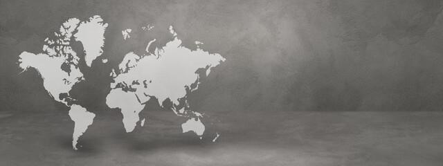 Obraz World map on concrete wall background. 3D illustration. Horizontal banner - fototapety do salonu