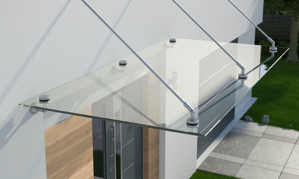 Glass canopy over the front door, 3d illustration