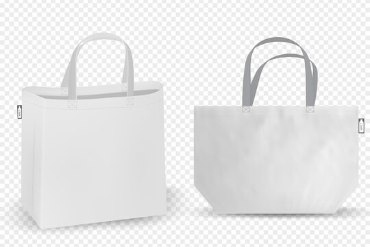 Shopping RPET bag cotton, Black and white tote shopping bags identity mock-up items template transparent background.