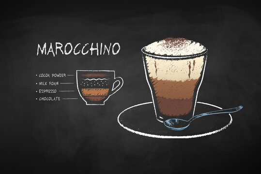 Chalked illustration of Maroccino coffee recipe